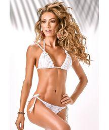 Animal thong bikini, white triangle macramé - CATETE