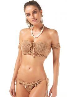 Naturbeige, virkad bandeau-bikini - CROPPED CROCHET