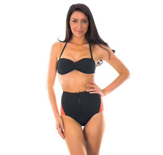 Bikini bandeau et hot pant noir et corail fluo - FIT ZIPER