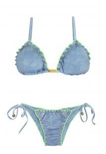 Scrunch bikini med i cowboylignende stof med selvlysende kanter - FLUO JEANS