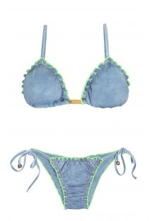 Denim look scrunch bikini with fluorescent contours - FLUO JEANS