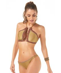Gold crop top bikini with contour embroidered braid - HALTER BORDADO