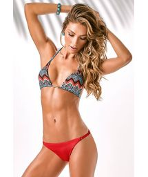 Red thong bikini bottom, ethnic print triangle top - HYPE COOL