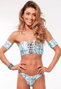 Green and white laced-up crop top bikini with little sleeves - ILHOS MARRAKESH