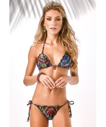 Tropical scrunch bikini with pendants - JARDIM DO EDEN