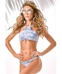 Crop-top racer-back bikini with a washed denim look - JEANS HIGH NECK