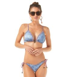 Washed denim scrunch bikini with pink overstitching - JEANS RIPPLE