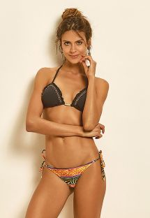 Triangel-Bikini mit Perlen, Felloptik - LIGHT BORDADO