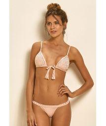 Pink triangle bikini with diamante tassels - LIGHT CORTININHA TACHAS
