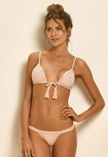 Pink triangle bikini with diamante tassels - LIGHT CORTININHA TACHAS