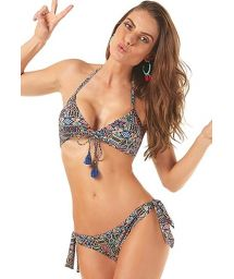 Ethnic print Brazilian bikini, top with pompoms - MAIA