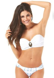 White bandeau bikini with check pattern bottom - METAL