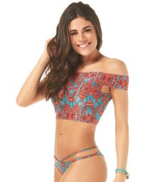 Off-the-shoulder two-tone print crop top bikini - NAOMI