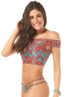 Off-shoulder crop top bikini med tofarvet mønster - NAOMI