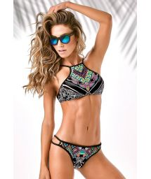 Brazilian bikini with surf-style crop-top - NEOPRENE HIGH NECK