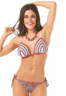 Striped crochet triangle bikini with printed tanga - ODARA