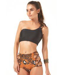Animal print hi-cut bikini bottom with black crop top - OMBRO
