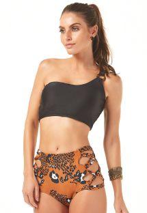 Bikini z wysokim stanem i asymetrycznym crop topem na jedno ramię - OMBRO