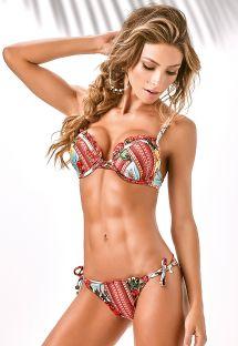 Blomstret push-up bikini og tanga bikinitrusse med scrunch-effekt - PEDRA DA GAVEA