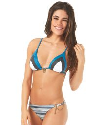 Blue striped triangle bikini with chain stitch detail - RECORTES