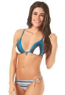 Blaugestreifter Triangel-Bikini, Kettenstich - RECORTES
