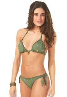 Green scrunch bikini with golden patterns and tassels - RIPPLE BORDADO