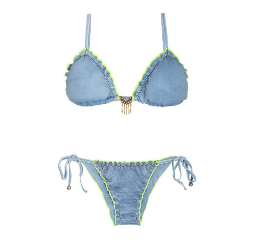 Scrunch washed-denim look bikini, fluo-coloured edges - RIPPLE JEANS