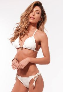 Ecru scrunch lace bikini with tassels - RIPPLE RENDA
