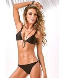 Black triangle bikini with accessory decorations to the sides - SWAN