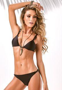 Bikini triangle noir aux côtés accessoirisés - SWAN