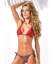 Red Brazilian thong bikini, print pattern and accessory decorations - SWAN BORDADO