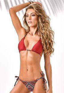 Aksesuarlı kırmızı desenli string bikini - SWAN BORDADO
