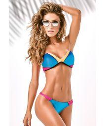 Three-coloured Brazilian bikini with bandeau top - TRILOBAL