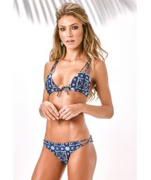 Strappy triangle bikini blue patterned print - TRILOBAL ROLETES