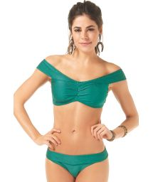 Green textured off-shoulder crop top bikini - TROPICANA