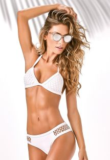 White Brazilian swimsuit openwork sides - VIDIGAL