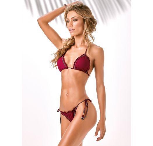 Burgundy triangle bikini with wavy edges - X-FIT
