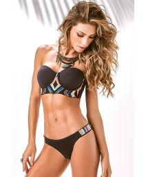 Black bustier bikini with ethnic-style embroidery - X-FIT BORDADO
