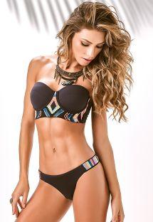Bikini bustier noir avec broderies ethniques - X-FIT BORDADO