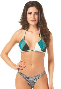 Triangle tricolor bikini decorated with beads - X-FIT BUSTO BORDADO MICANGA