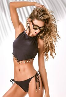 Bikini crop top noir avec coquillages - X-FIT BUZIOS