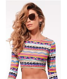 Long sleeve crop top ethnic bikini - X-FIT CROPPED TRIO LONGO