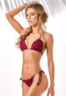 Bikini burdeos con forma triángulo y bordes ondulados - X-FIT