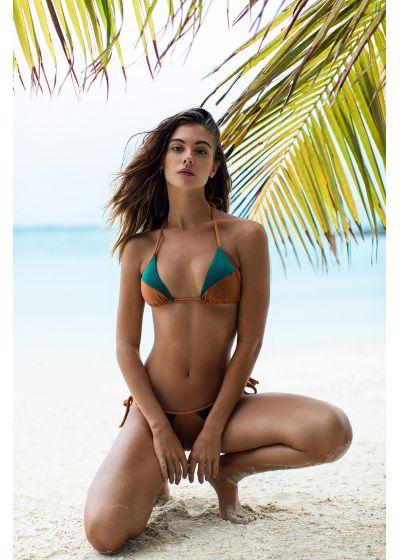 Brasiliansk bikini i två material, grön/koppar - COPPER GREEN