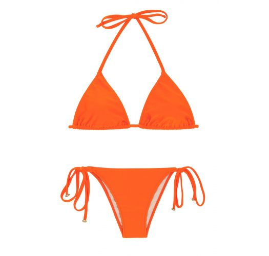 Orange side-tie Brazilian bikini - LACINHO KING