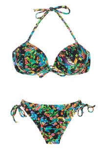 Black balconette top bikini featuring multicoloured flowers - REALITY FLOWER BALCONET