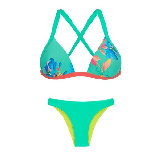 Floral green back-crossed triangle bikini with reversible bottom - ACQUA FLORA DUO