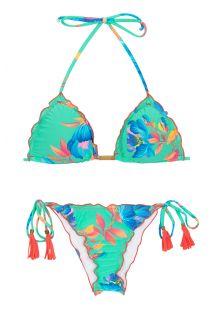 Floral turquoise scrunch bikini - ACQUA FLORA FRUFRU