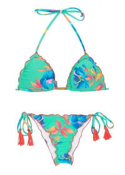 Blommönstrad, turkos skrynklad bikini - ACQUA FLORA FRUFRU