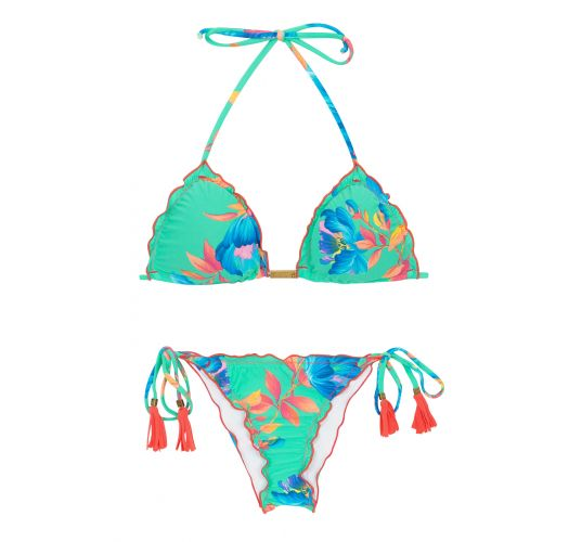 Bikini brésilien scrunch floral vert d'eau - ACQUA FLORA FRUFRU
